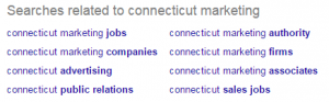 Connecticut marketing Google suggested searches